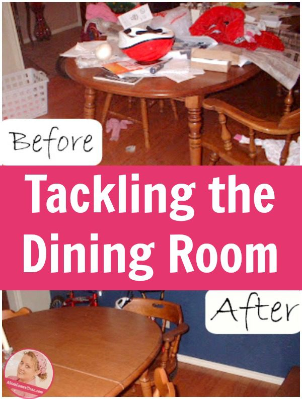 Decluttering-the-Dining-Room-Table pin at ASlobComesClean.com_