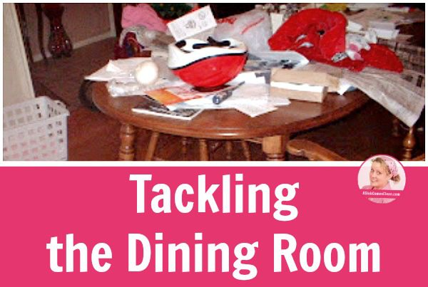 Decluttering-the-Dining-Room-Table title at ASlobComesClean.com_