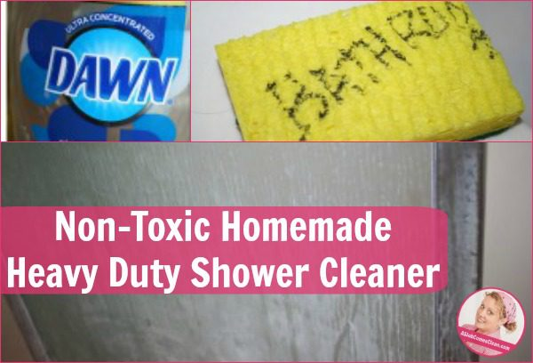 Non-Toxic Homemade Heavy Duty Shower Cleaner fb at ASlobComesClean.com