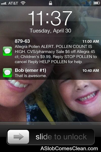 Pollen Count Texts from Allegra and CVS