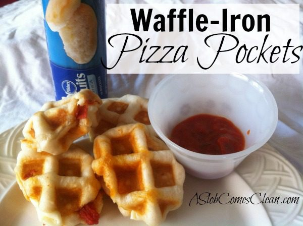 Waffle-Iron Pizza Pockets (So Easy!) from ASlobComesClean.com