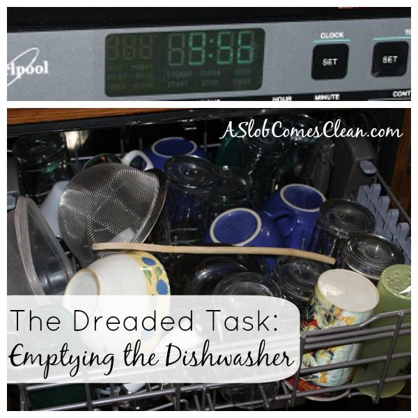 Emptying the Dishwasher (How Long Does it Really Take) at ASlobComesClean.com