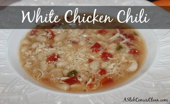 Photo - White Chicken Chili Recipe at ASlobComesClean.com