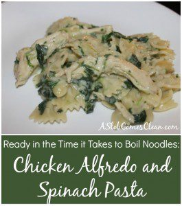 Super Fast (And Almost Embarrassingly Easy) Chicken Alfredo Pasta with Spinach