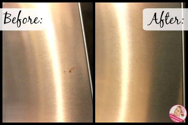 Rust Stains on Appliances before after 2 at ASlobComesClean.com
