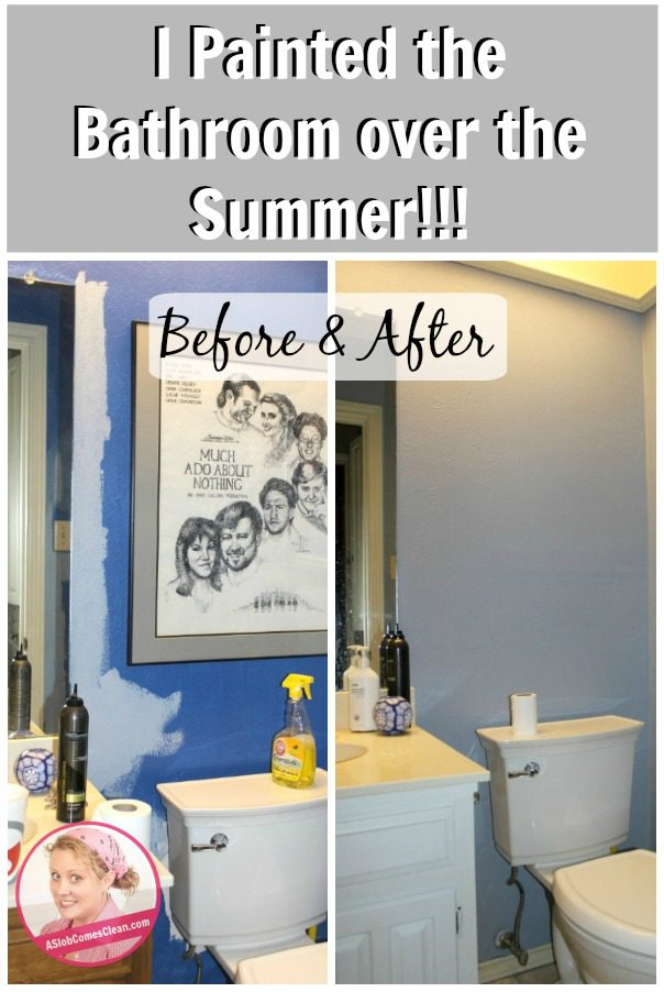 I Painted the Bathroom over the Summer! at ASlobComesClean.com