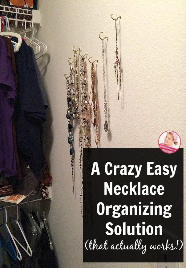 A Crazy Easy Necklace Organizing Solution (that actually works!) using hooks to hang jewelry at ASlobComesClean.com