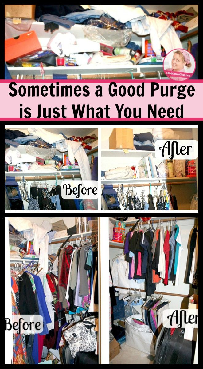 Sometimes a Good Purge is Just What You Need pin at ASlobComesClean.com