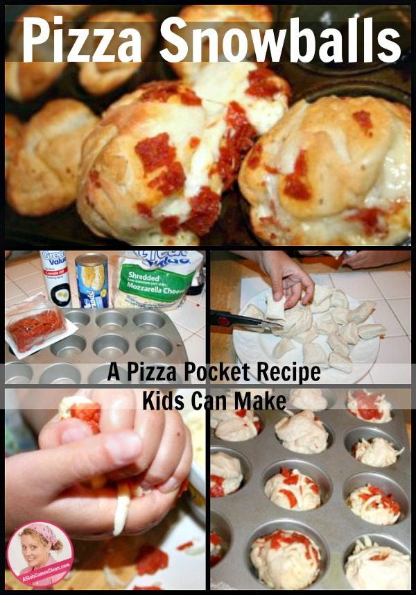Pizza Snowballs - a pizza pocket recipe kids can make for picnic meal at ASlobComesClean.com
