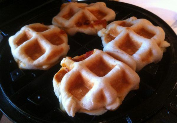 Making Biscuit Pizza Pockets in the Waffle Iron