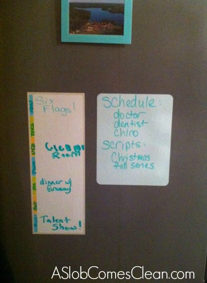 Dry Erase Boards on the Fridge by Post-It at ASlobComesClean