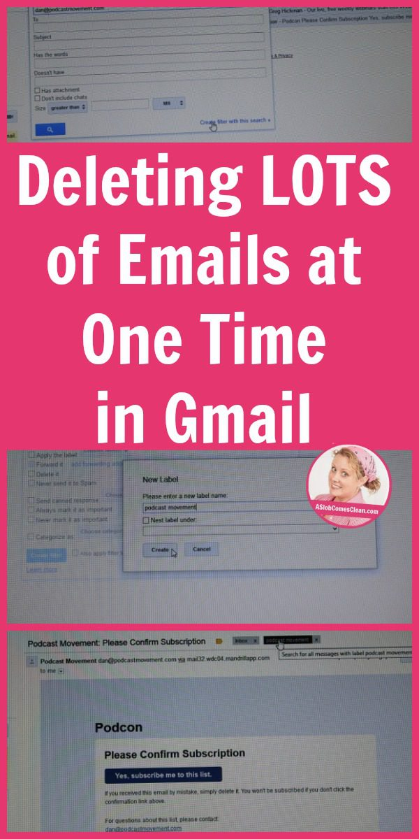 Deleting LOTS of Emails at One Time in Gmail pin at ASlobComesClean.com