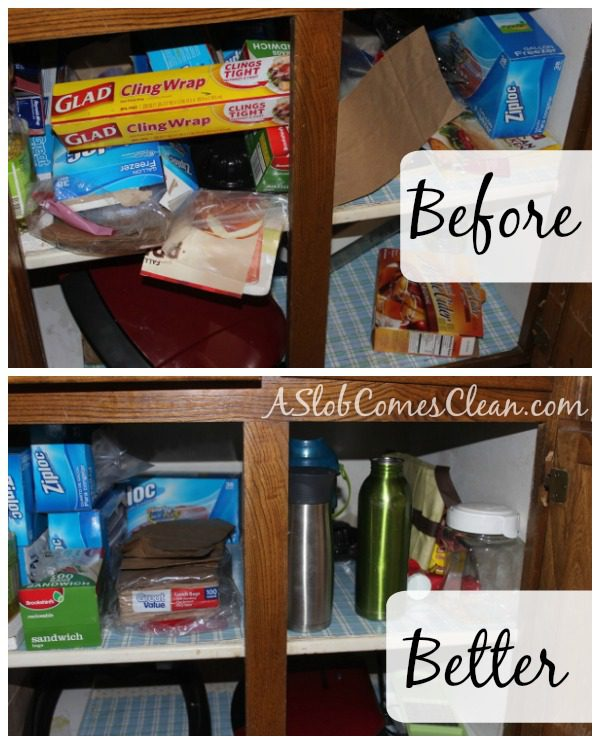 Decluttering a Kitchen Cabinet at ASlobComesClean.com