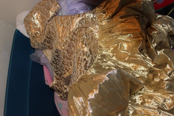 Gold Bubble Skirted 80s Homecoming Dress