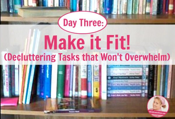 Day Three Make it Fit! (Decluttering Tasks that Won't Overwhelm) at ASlobComesClean.com