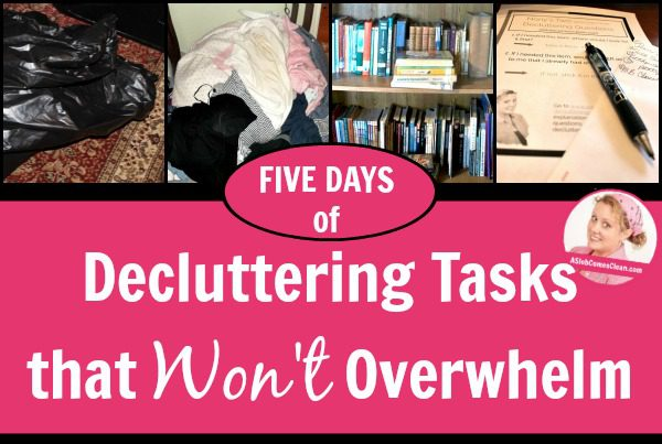 Overwhelmed Work Through Your Clutter with These Non-Overwhelming Steps at ASlobComesClean.com