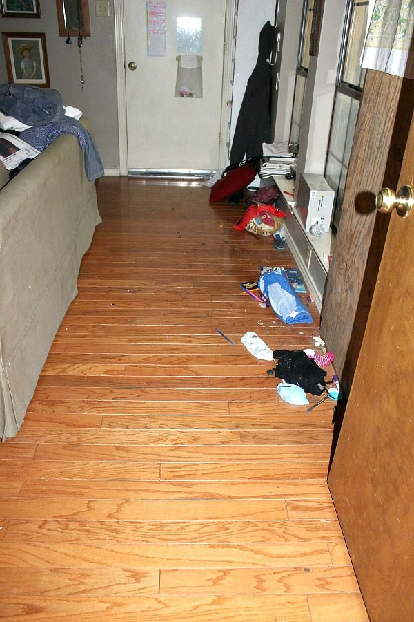 cleaning under the couch remove trash first at ASlobComesClean.com