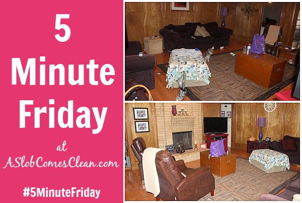 #5MinuteFriday at ASlobComesClean.com Five Minute Pick Up Decluttering the Living Room