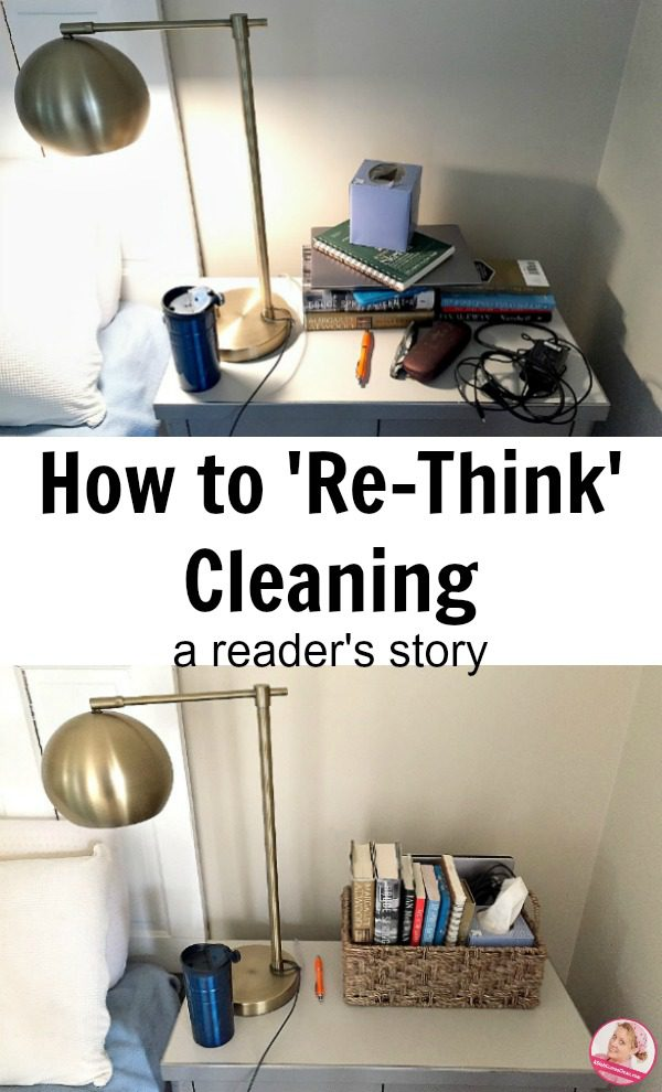 A Reader Shares How She 'Re-Thinks' about Cleaning Declutter Nightstand before and after at ASlobComesClean.com
