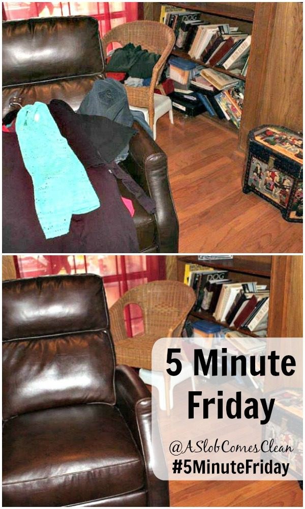 Decluttering That Random Load that Ended Up on the Recliner #5MinuteFriday at ASlobComesClean.com Procrasticlutter
