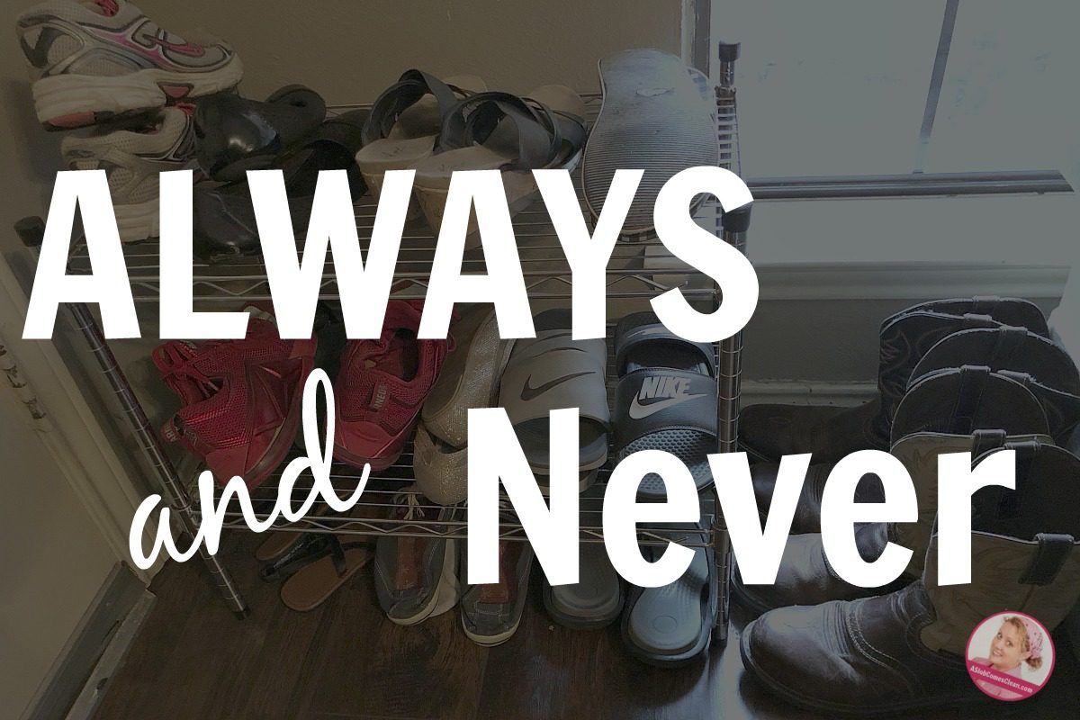 always never declutter shoe rack at ASlobComesClean.com