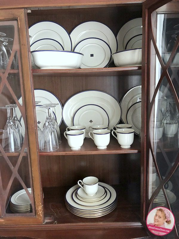 china cabinet dishes make space declutter organize at ASlobComesClean.com