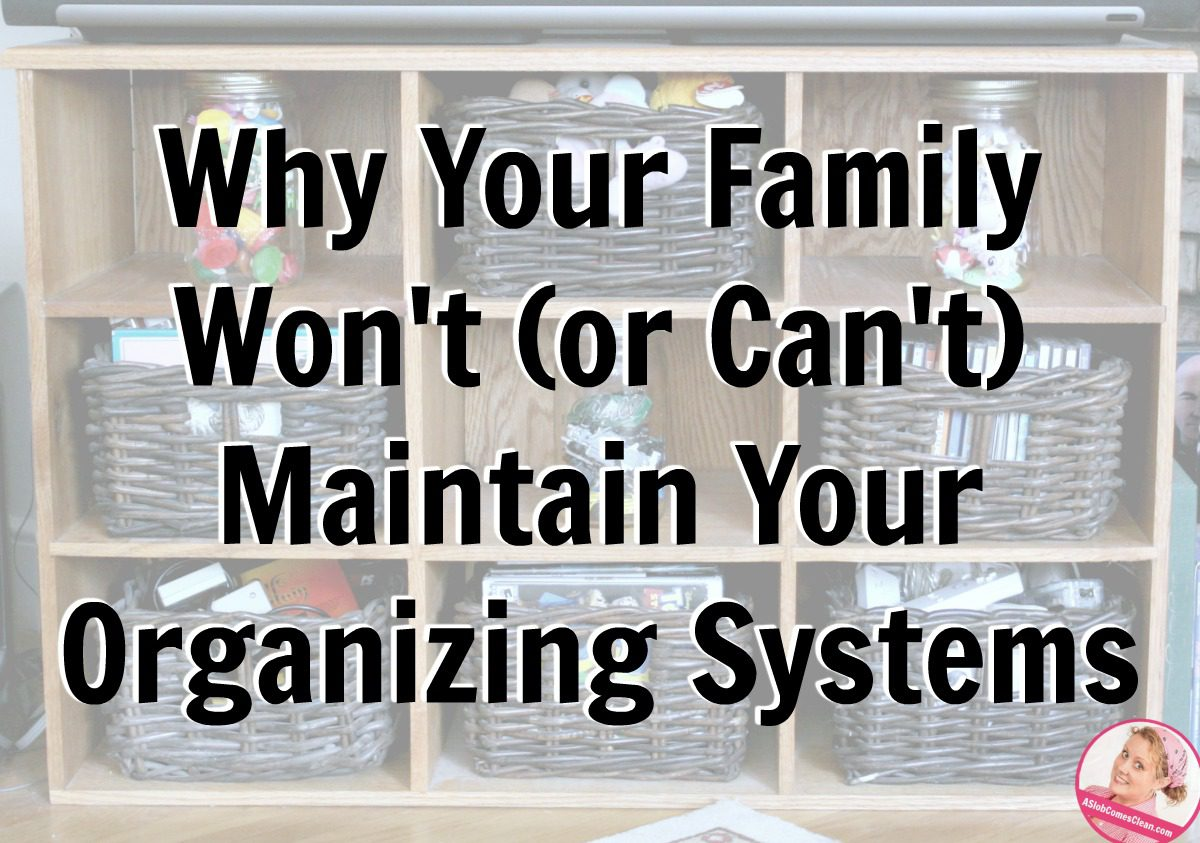 Why Your Family Won't or Can't Maintain Your Organizing Systems at ASlobComesClean.com