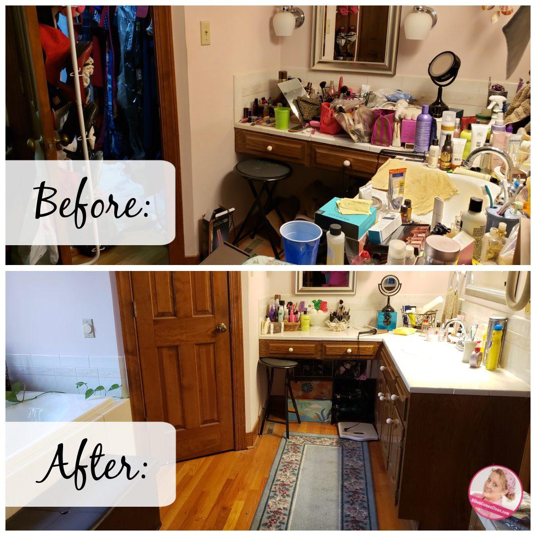 bathroom counter less and better declutter progress at aslobcomesclean.com