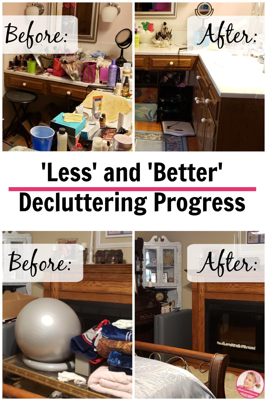 before after less better decluttering progress at aslobcomesclean.com