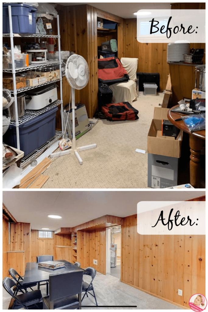 decluttering for a move before after basement at aslobcomesclean.com